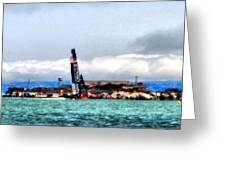 Oracle Team Usa And Alcatraz Greeting Card
