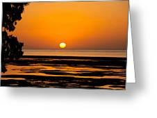 Orange And Black Sunset Abstract Greeting Card