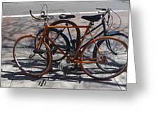 Orange And Blue Bikes Greeting Card