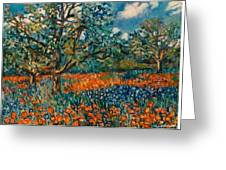 Orange And Blue Flower Field Greeting Card