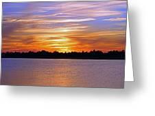 Orange And Blue Sunset Greeting Card