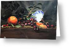 Orange And Grapes Greeting Card by Ellen Howell