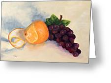 Orange And Grapes Greeting Card