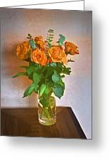 Orange And Green Greeting Card by John Hansen