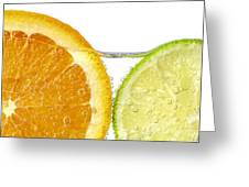 Orange And Lime Slices In Water Greeting Card