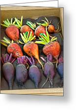 Orange And Purple Beet Vegetables In Wood Box Art Prints Greeting Card