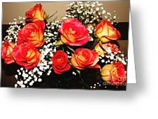 Orange Apricot Roses With Oil Painting Effect Greeting Card