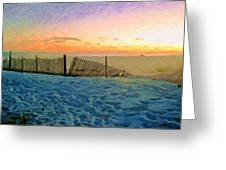 Orange Beach Sunset - The Waning Of The Day Greeting Card