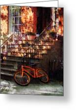 Orange Bicycle By Brownstone Greeting Card