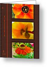Orange Bloom Motif R Greeting Card