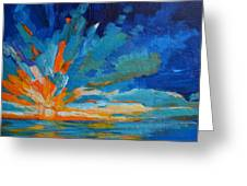 Orange Blue Sunset Landscape Greeting Card by Patricia Awapara