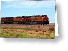 Orange Bnsf Engines Greeting Card