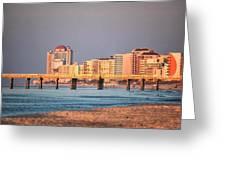 Orange Buildings On The Beach Greeting Card