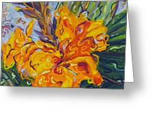 Orange Cannas Greeting Card by Deborah Glasgow