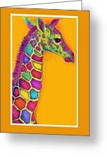 Orange Carosel Giraffe Greeting Card