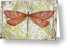 Orange Dragonfly On Vintage Tin Greeting Card