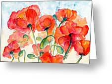 Orange Field Of Poppies Watercolor Greeting Card