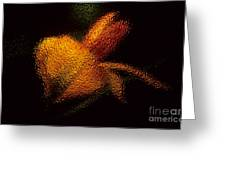 Orange Floral In Abstract Greeting Card