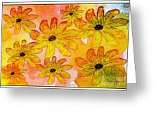 Orange Flowers Galore Digital Art Greeting Card