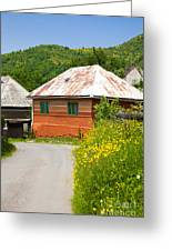 Orange House In A Romanian Village Greeting Card