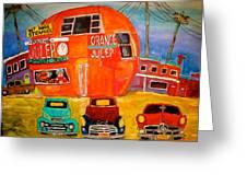 Orange Julep Truck Line-up Montreal Memories Greeting Card by Michael Litvack