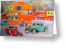 Orange Julep Trucks Montreal Memories Greeting Card by Michael Litvack