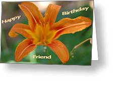 Orange Lily Birthday Greeting Card