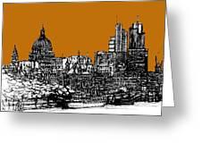 Dark Ink With Bright Orange London Skies Greeting Card