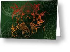 orange Lord Ganesha on green Mandala Greeting Card