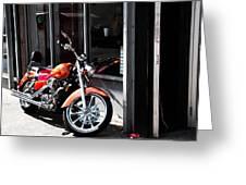 Orange Motorcycle Greeting Card