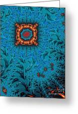 Orange On Blue Abstract Greeting Card