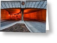 Orange Parking Garage Greeting Card
