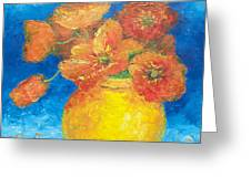 Orange Poppies In Yellow Vase Greeting Card
