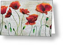 Orange Poppies Original Abstract Flower Painting By Megan Duncanson Greeting Card