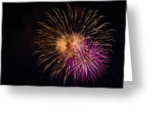 Orange Purple Fireworks Galveston Greeting Card