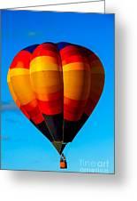 Orange Stipped Hot Air Balloon Greeting Card