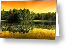Orange Sunrise Reflection Landscape Greeting Card