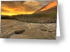 Orange Sunset On Sluice Box Rapids Greeting Card