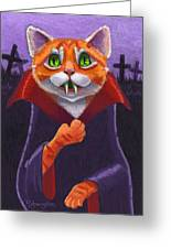 Orange Tabby Vampire Cat Greeting Card