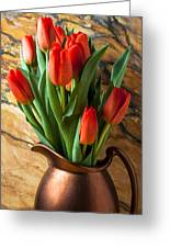 Orange Tulips In Copper Pitcher Greeting Card