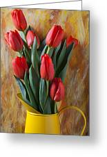 Orange Tulips In Yellow Pitcher Greeting Card by Garry Gay