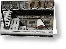 Orange Umbrella - Winter In New York Greeting Card
