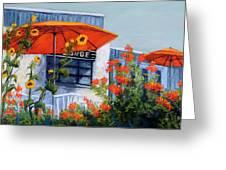 Orange Umbrellas Greeting Card