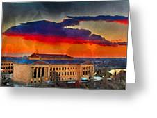 Orange Upon The Art Museum Greeting Card