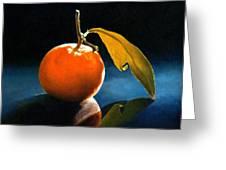 Orange With Leaf Greeting Card