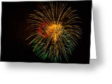 Orange Yellow Green Fireworks Galveston Greeting Card by Jason Brow