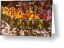 Oranges And Flowers Greeting Card