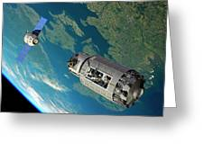 Orbital Maintenance Docking Greeting Card