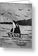Orca Free And Happy Greeting Card