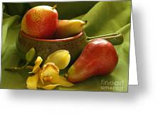 Orchid With Pears Greeting Card